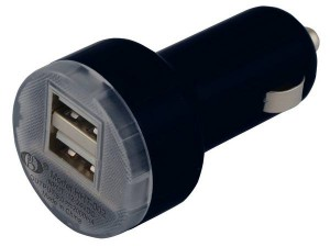 Black dual USB car adapter