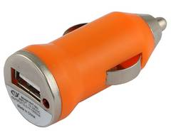 Orange car USB charger adapter